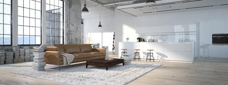 El diseño interior de la cocina moderna. Las 3D Foto de archivo - 47805389