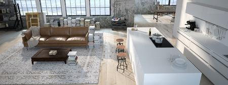 モダンなキッチンのインテリア デザイン。3 d レンダリング