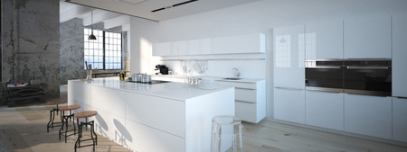 modern house: The modern kitchen interior design. 3d rendering Stock Photo