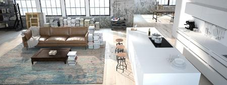 modern kitchen: The modern kitchen interior design. 3d rendering Stock Photo