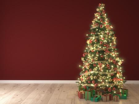 NAVIDAD: luces brillantes de un árbol de Navidad sobre fondo rojo. Las 3D