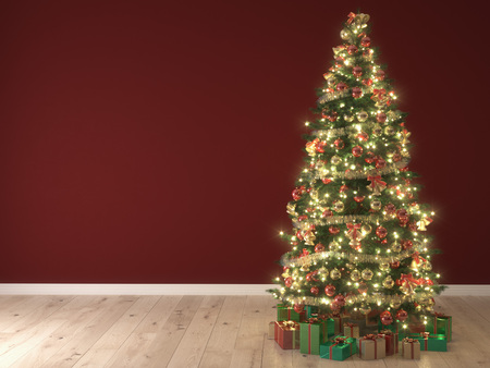 arbre: lumières brillantes d'un arbre de Noël sur fond rouge. rendu 3d
