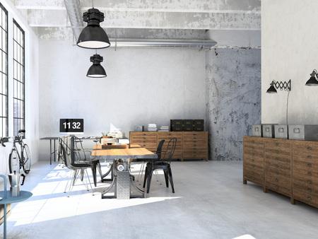 Interieur van de moderne woonkamer met een tafel. 3D-rendering