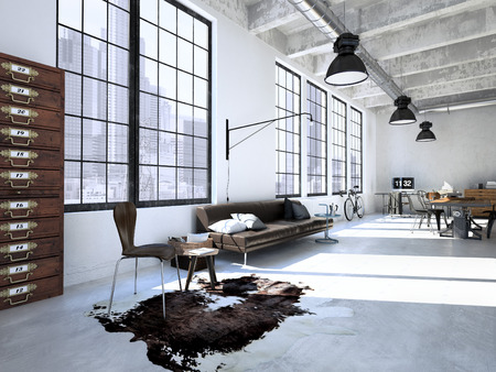 Design d'intérieur de la vie moderne à manger avec une table. rendu 3d Banque d'images - 47863509