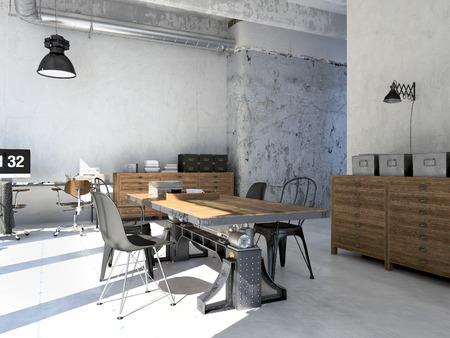 Inter ontwerp van moderne woonkamer met een tafel. 3D-rendering