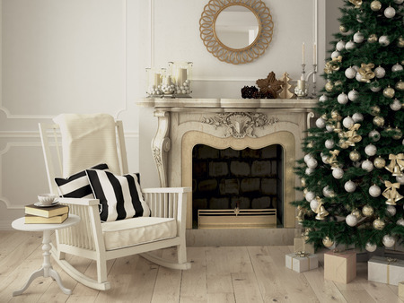 christmas decorated room with a fireplace. 3d rendering