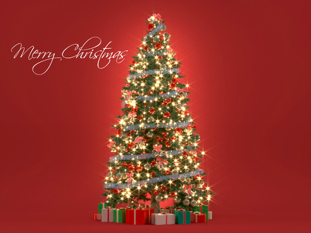 Blurred Christmas tree on red background. 3d rendering Фото со стока