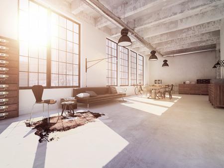 case moderne: Interior design di moderno salotto con un tavolo. Rendering 3D