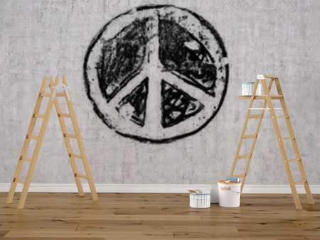 faded: faded peace sign on a concrete textured wall. 3d rendering