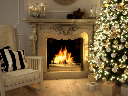 room card: A living room at Christmastime lit only by the fire and Christmas tree. 3d rendering