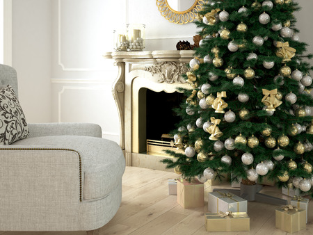 room decoration: Christmas living room with a tree and fireplace. 3d rendering Stock Photo