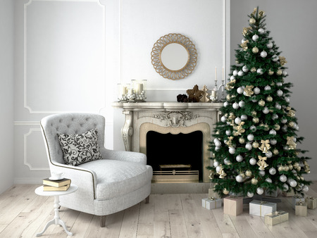 Christmas living room with a tree and fireplace. 3d rendering Banco de Imagens