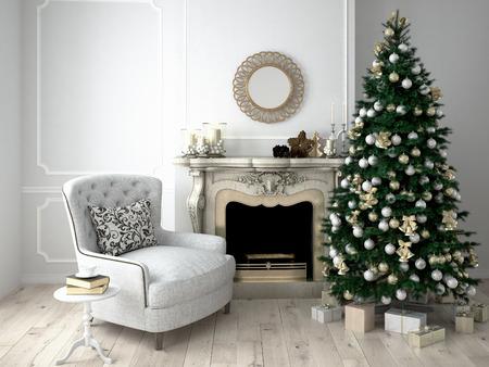 camino natale: Natale soggiorno con un albero e camino. Rendering 3D