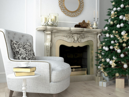 hearth and home: Christmas living room with a tree and fireplace. 3d rendering Stock Photo