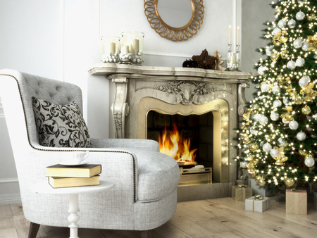Christmas living room with a tree and fireplace. 3d rendering Archivio Fotografico