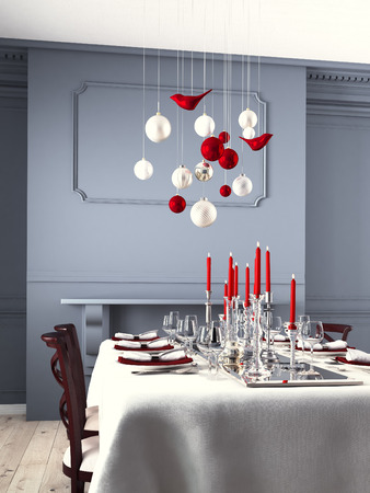table set: Beautifully set table for Christmas Eve in a modern interieur. 3d rendering Stock Photo