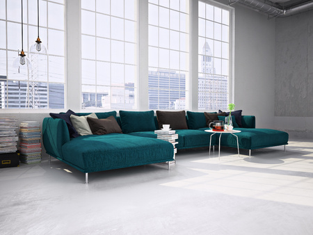 Modern living room with huge windows, modern sofa. 3d rendering