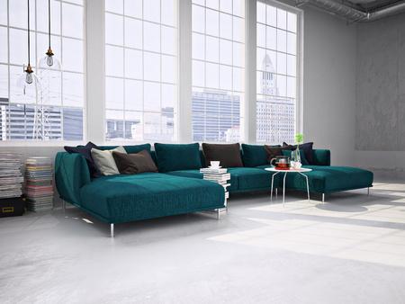 Moderne woonkamer met grote ramen, moderne bank. 3D-rendering