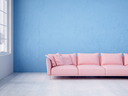 blue wall: Modern interior with free wall space. 3d rendering Stock Photo