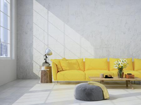 Contemporary soggiorno soppalco interno. Rendering 3D Archivio Fotografico - 52799367