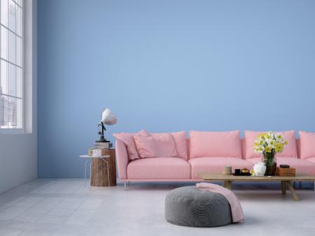 현대 거실 로프트 인테리어입니다. 3 차원 렌더링