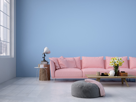 Intérieur contemporain loft salon. Rendu 3d Banque d'images - 52799368