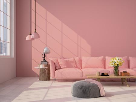 Altillo interior Sala de estar contemporánea. Representación 3D Foto de archivo - 52799370