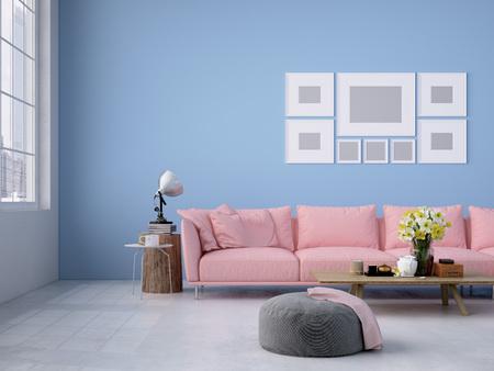 Intérieur contemporain loft salon. Rendu 3d Banque d'images - 52799371