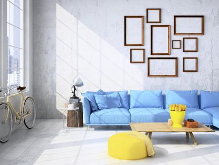 Moderne Wohnzimmer Loft-Interieur. 3D-Rendering
