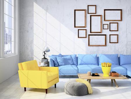 Eigentijdse woonkamer loft interieur. 3D-rendering Stockfoto