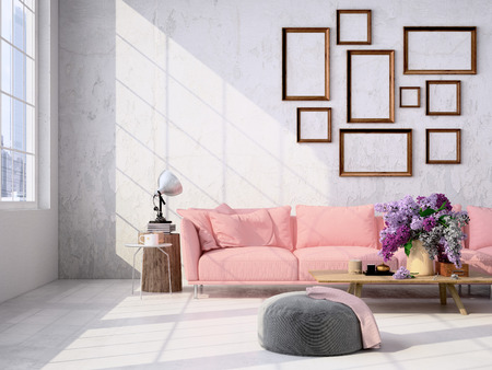 Intérieur contemporain loft salon. Rendu 3d Banque d'images - 52813440