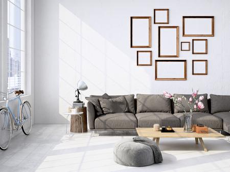 Contemporary soggiorno soppalco interno. Rendering 3D