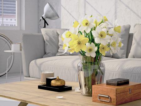 Mooi boeket van narcissen in een woonkamer. 3D-rendering