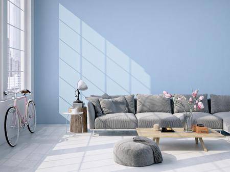 contemporary living room: Contemporary living room loft interior. 3d rendering