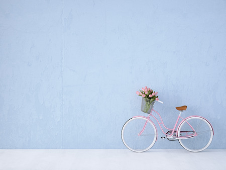파란색 벽 레트로 빈티지 자전거. 3d 렌더링 스톡 콘텐츠
