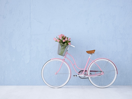 retro vintage bicycle with a blue wall. 3d rendering