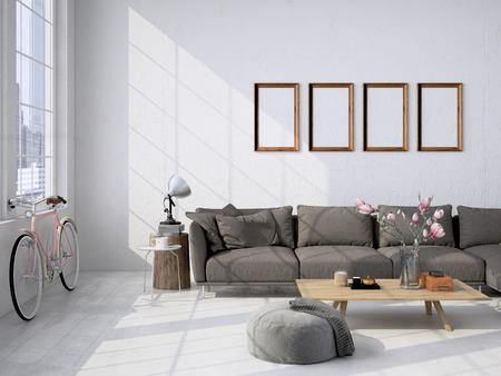 현대 거실 로프트 인테리어입니다. 3D 렌더링 스톡 콘텐츠