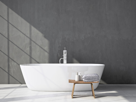 bathroom tiles: Modern grey bathroom. Spa interior. 3d rendering