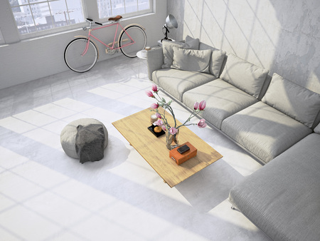 Contemporary living room loft interior. 3d rendering Banco de Imagens - 53243151