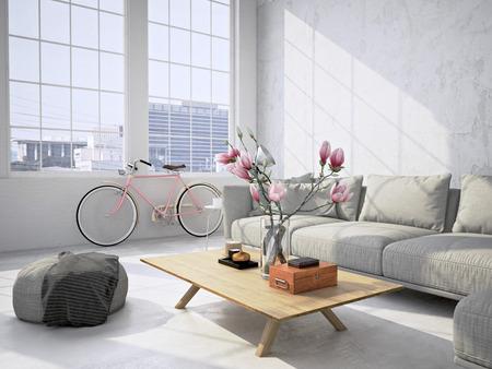 Intérieur contemporain loft salon. Rendu 3d Banque d'images - 53243263