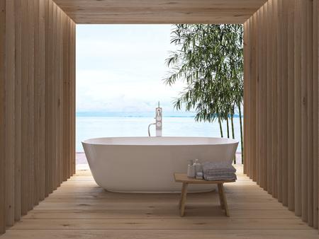 beach view: Modern wooden luxury bathroom interior. 3d rendering