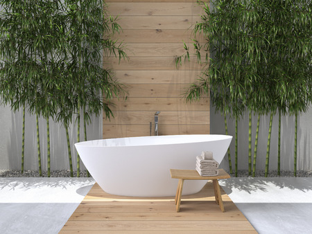 interior of a bathroom with bamboo. 3d rendering