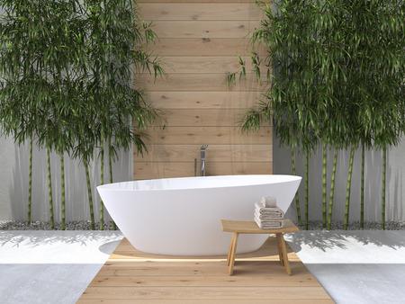 bañarse: entre otras de un cuarto de baño con el bambú. Las 3D Foto de archivo