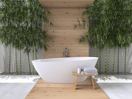 interieur van een badkamer met bamboe. 3D-rendering