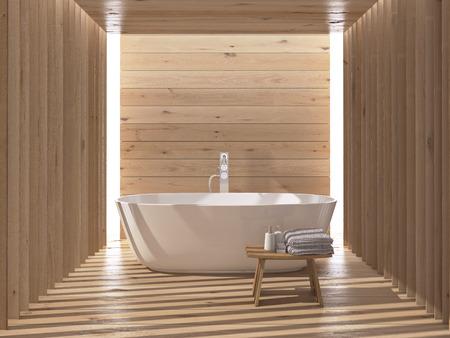 현대 목조 고급 욕실 인테리어. 3d 렌더링 스톡 콘텐츠