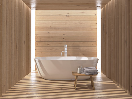 Modern wooden luxury bathroom interior. 3d rendering