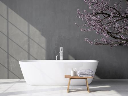 Moderne grijze badkamer. Spa inter. 3D-rendering