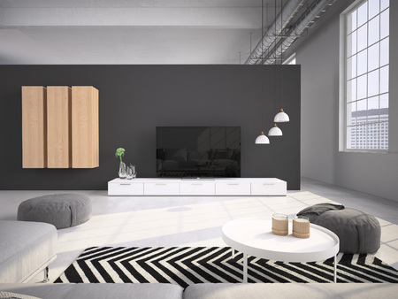 contemporary: Contemporary living room loft interior. 3d rendering