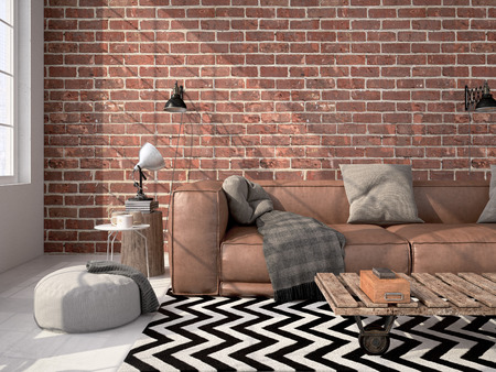Contemporary living room loft interior. 3d rendering Stock fotó - 54877837