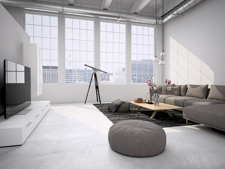 Contemporary living room loft interior. 3d rendering